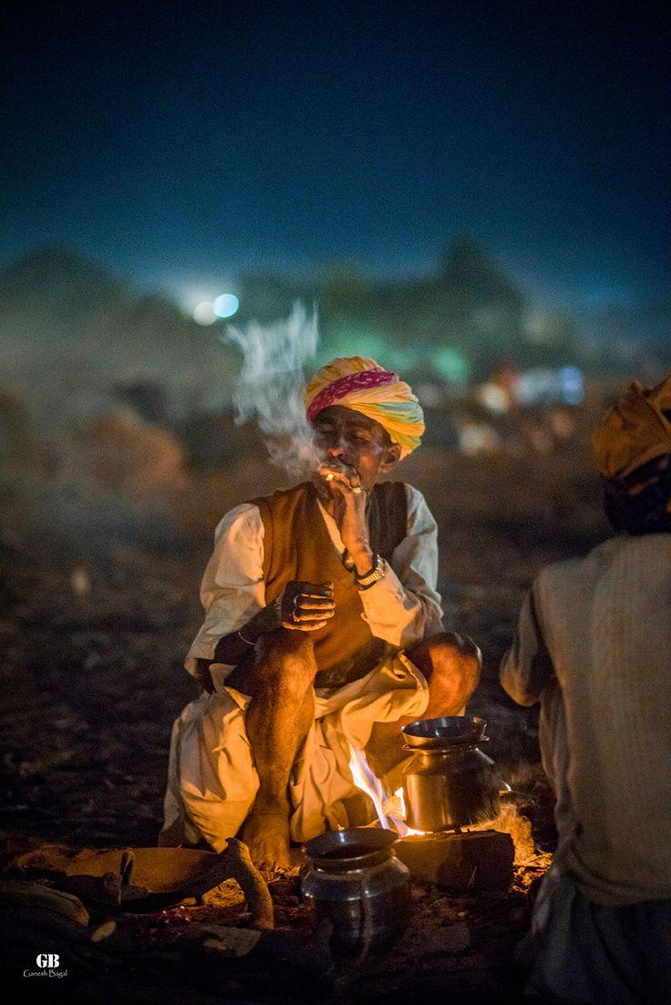 Relaxing in Night at Pushkar Camel Fair,Rajasthan, India