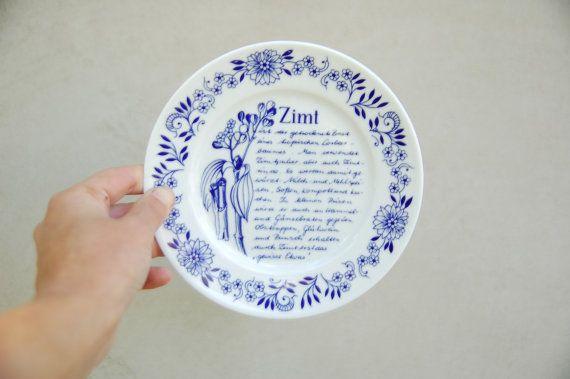 Vintage German porcelain dinner plate with blue scripts - kitchen wall decor - retro cottage plate - midcentury vintage dinnerware