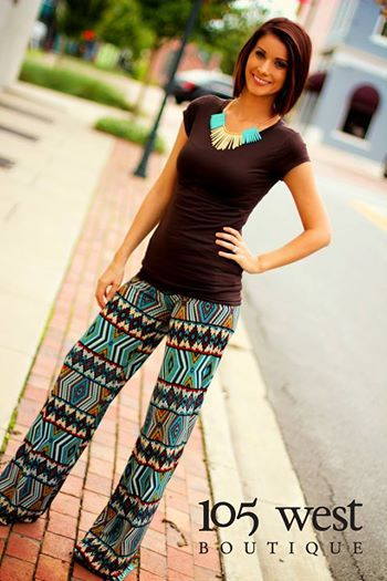 """Vibrant Turquoise and Fall Inspired Print make our """"Piper"""" Palazzo Pants a customer favorite! Only Medium & Large left! $34.99 In Store & Online!"""