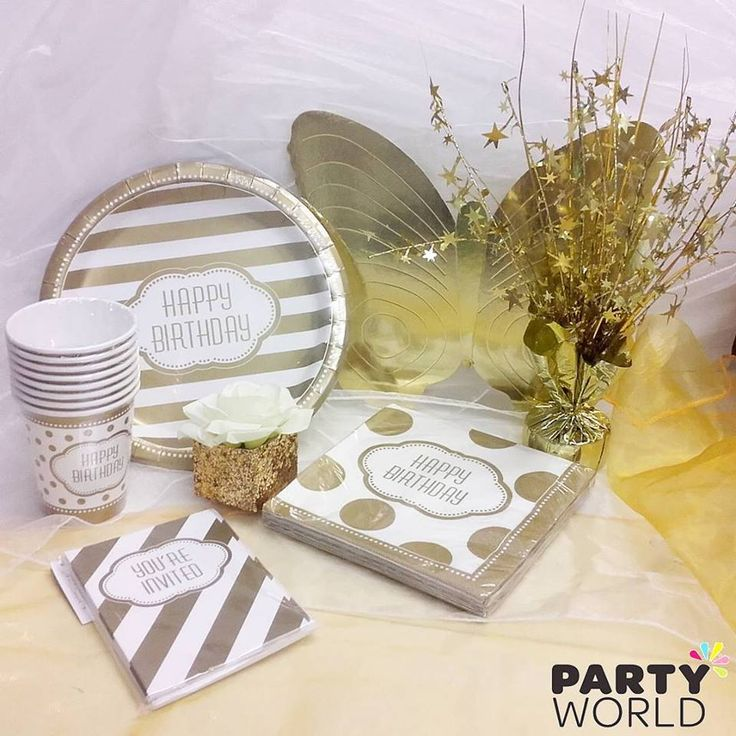 Golden Birthday Party Supplies. Perfect for any age! Wide range includes tableware, invites, place cards and much more! Mix and match with our plain gold & white products! #Birthday #wedding #babyshower # Partyideas #merimeri Partyworldnz #partyworldnz #party #ideas #partyideas #birthday #wedding #babyshower #disney #balloons #decoration #tableware #kids #adult #theme #shop #online #nz #newzealand #60th #50th #70th #anniversary