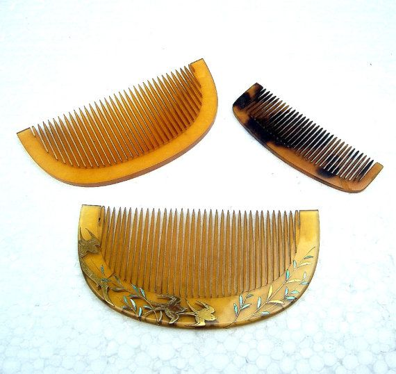Vintage Hair Combs 3 Japanese Celluloid Hair Accessories (AAC)