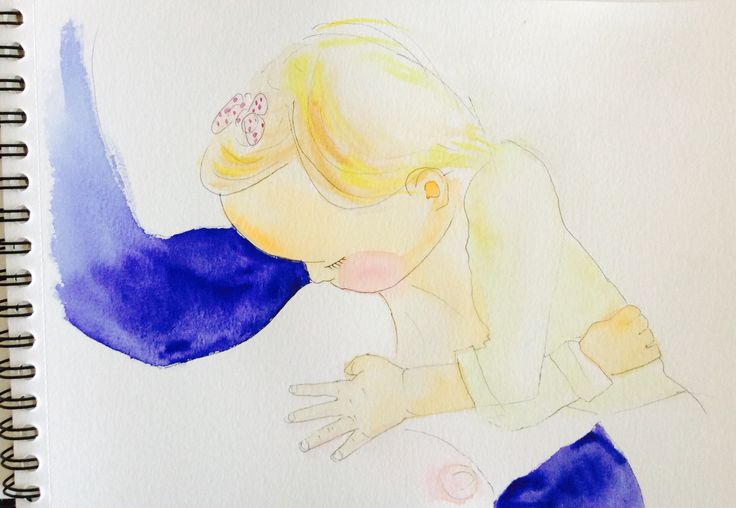 Watercolor sketch breast-feed