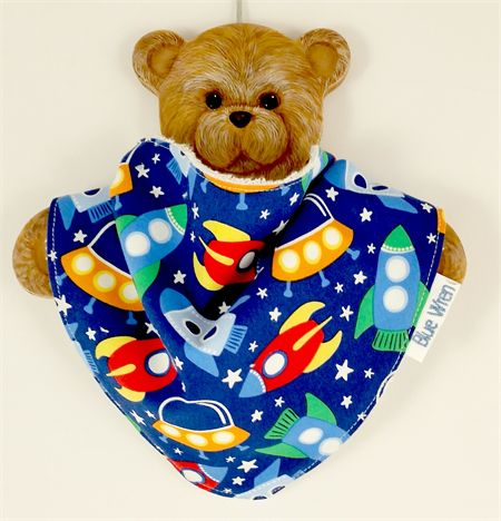 Dribble Bandanna Baby Bib - So Soft, Bamboo Toweling, Cotton Spaceship Fabric