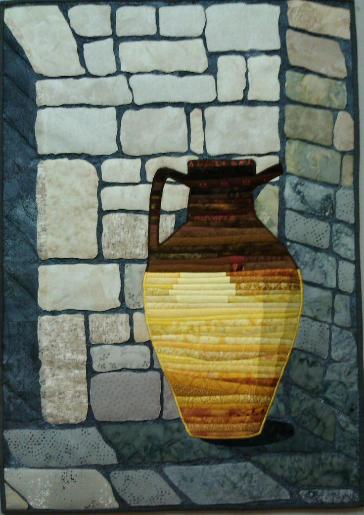 Amphora. Made for the Otago Quilting and Patchwork Assoc magazine challenge. 2016. Given to my niece Lizzie.