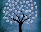 Articoli simili a matrimonio impronte digitali guestbook albero fai da te stampabile della neve di inverno lascia 16x20 100-175 ospiti su Etsy