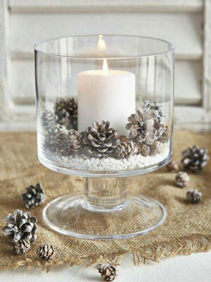 Candle and Pine Cones in Bowl for a winter Table, Christmas Table or just a rustic themed home.