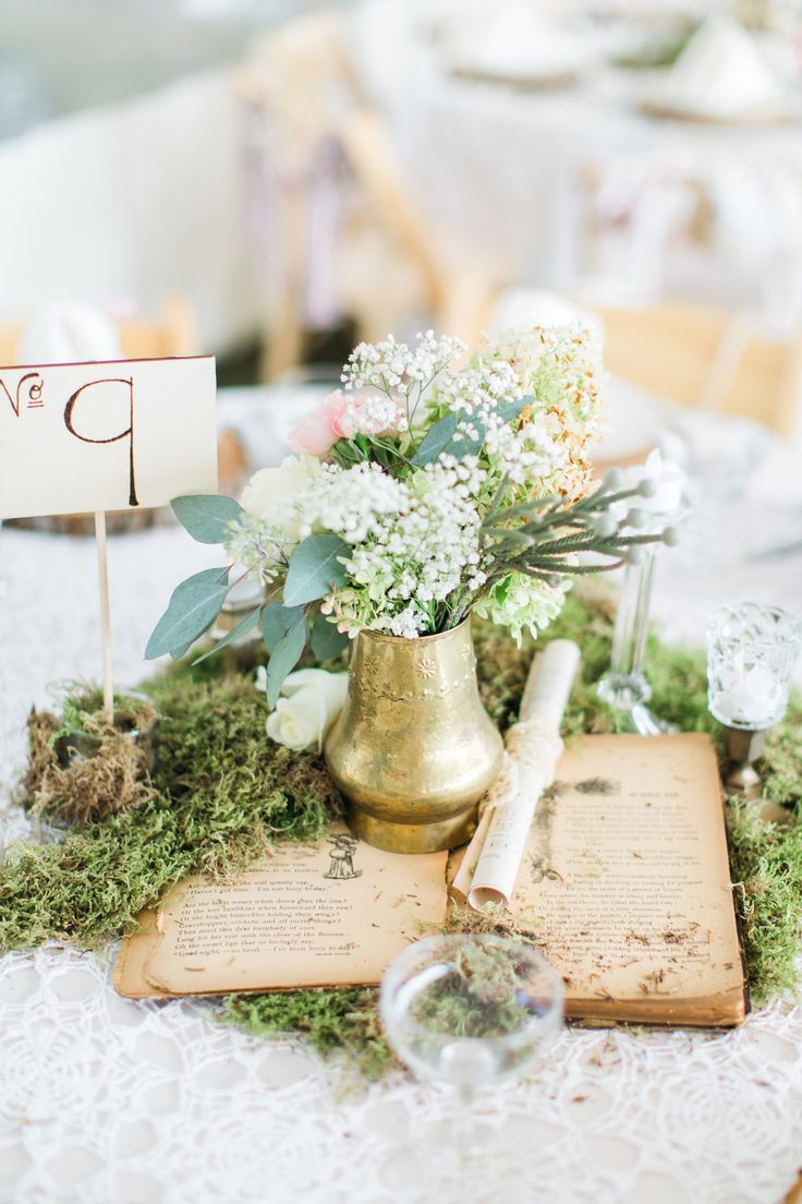 Vintage-Book Centerpiece With Gold Vase Chelsea Michigan Whimsical Wedding by Los Angeles Wedding Photographer Loie Photography