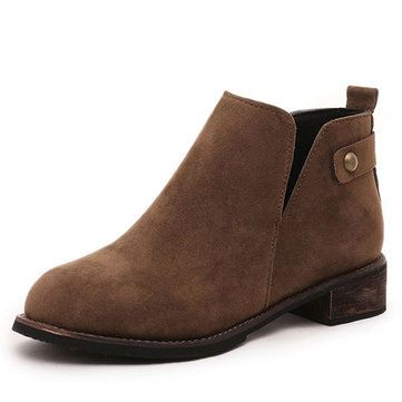 Women Casual Suede Soft Slip On Ankle Short Boots