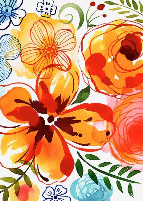 Margaret Berg Art: Artisanal+Floral+Orange