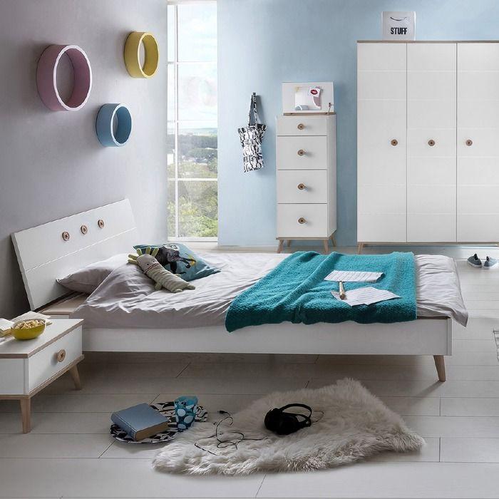 Wimex Bett Billund 120 X 200 Cm Weiss Eiche Kunststoff In 2020 Jugendzimmer Kinder Zimmer Und Weisse Eiche