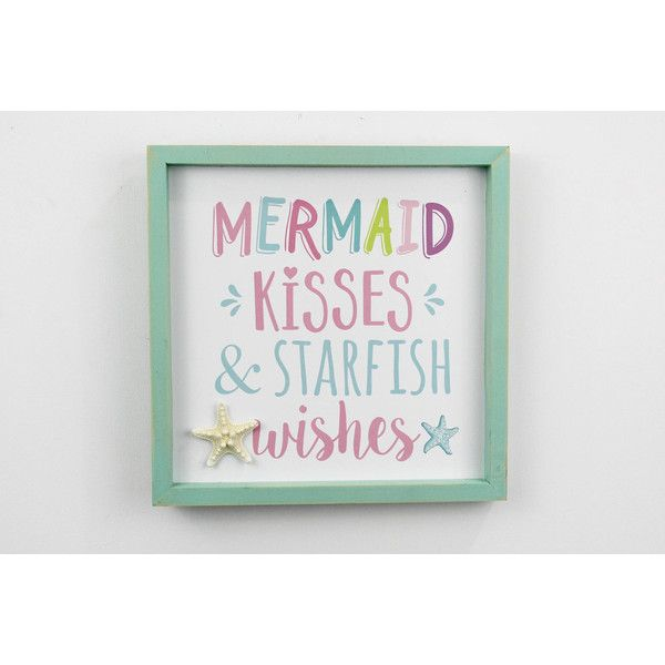 Mermaid Kisses Starfish Wishes Sign Mermaid Bathroom (29 CAD) ❤ liked on Polyvore featuring home, home decor, wall art, home & living, home décor, light pink, wall décor, beach scene wall art, beach home accessories and beach home decor