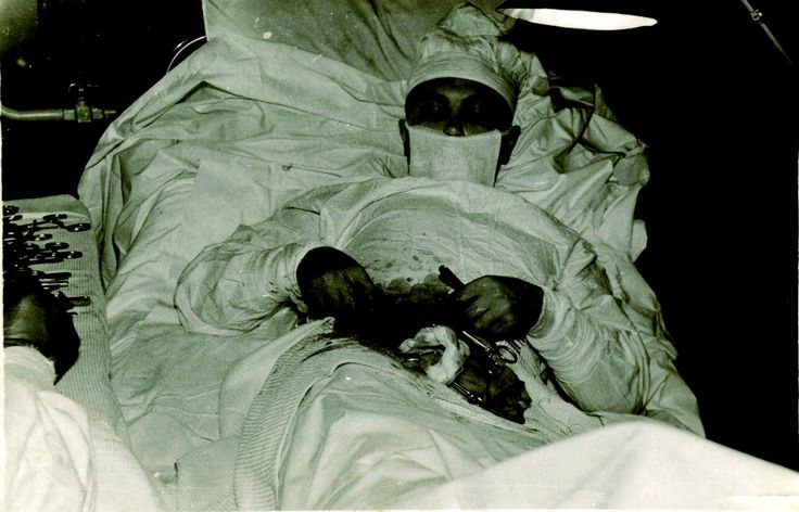 Leonid Rogozov, the only surgeon on an Antarctic expedition, performing surgery on himself after suffering from appendicitis. April 30, 1961.