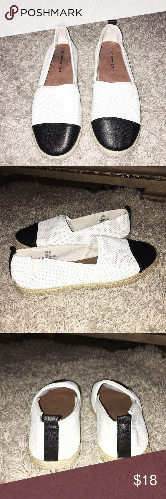 Madden Girl White&Black Espadrilles Size 8.5. White / black. Man made material. 1/2 inch heel. Madden Girl Shoes Espadrilles