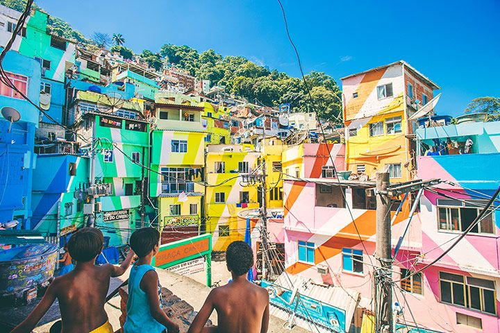 Credit: Peeter Viisimaa/Getty Images Santa Marta, the first Rio favela to be 'pacified' by police in 2008, was brightened u...