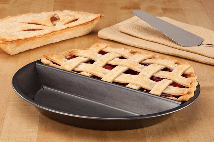 Divided Pie Pan Set - Why have one kind of pie when you can have two!!. 2-IN-1 PIE PAN ~ MINI LOAF PAN ~ TART/QUICHE PAN SET – GREAT BAKING PANS FOR DESSERTS! #KITCHENTOOLS #BAKING