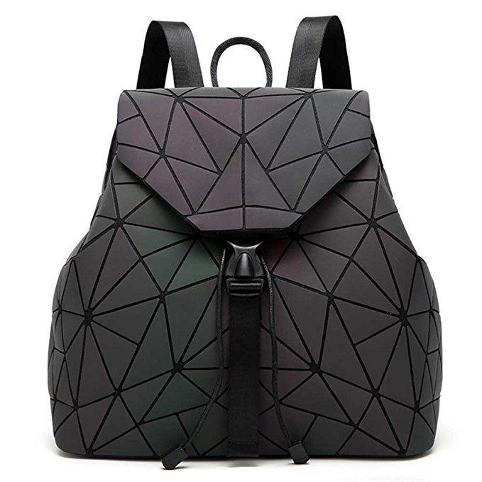 DIOMO Geometric Lingge Women Backpack Luminous Mens Travel Shoulder Bag  Rucksack (Luminous NO.3) 7ba5922a49d54