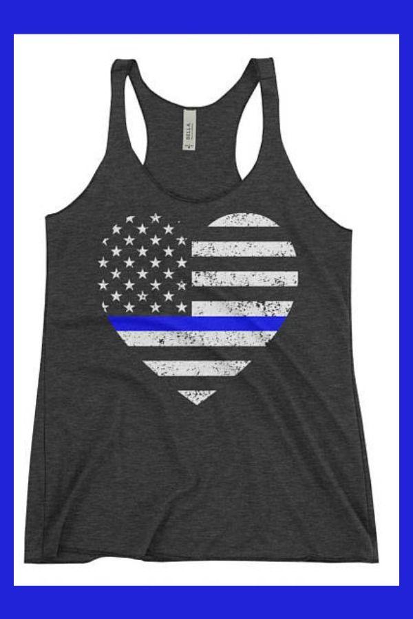 4d76d8913fc934 Thin Blue Line American Flag Heart Women s Racerback Tank