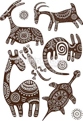 Arte vectorial : Set of vector African traditional patterns with animals