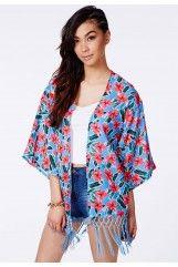 Dawna Tropical Kimono With Fringe Detail