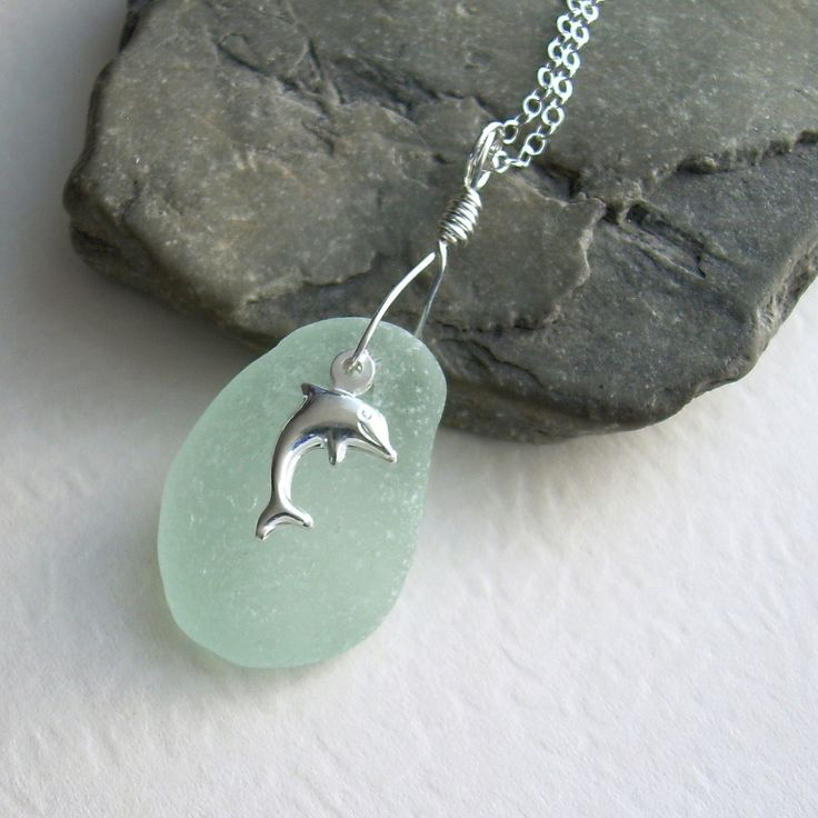 Dolphin Necklace, Mint Green Sea Glass Pendant, Ocean Jewelry. $32.00, via Etsy.