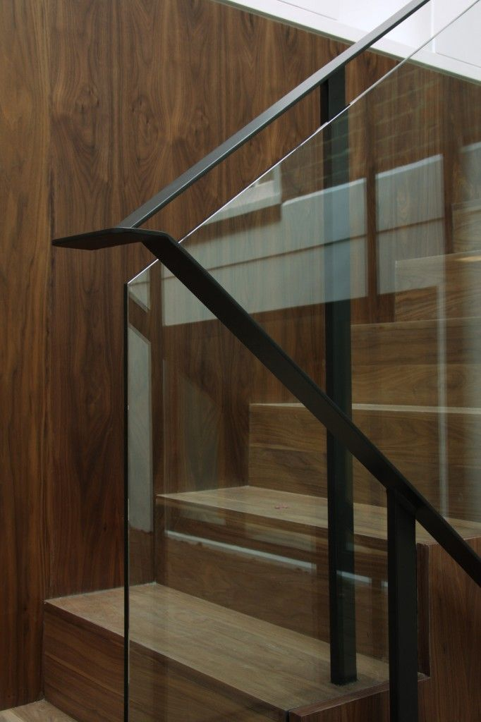 Ballustrade only option ? Simple Floating Glass with steel handrail over and folded back down the stairs. More