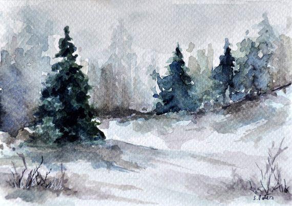 ORIGINAL Watercolor Landscape Painting Winter by ArtCornerShop
