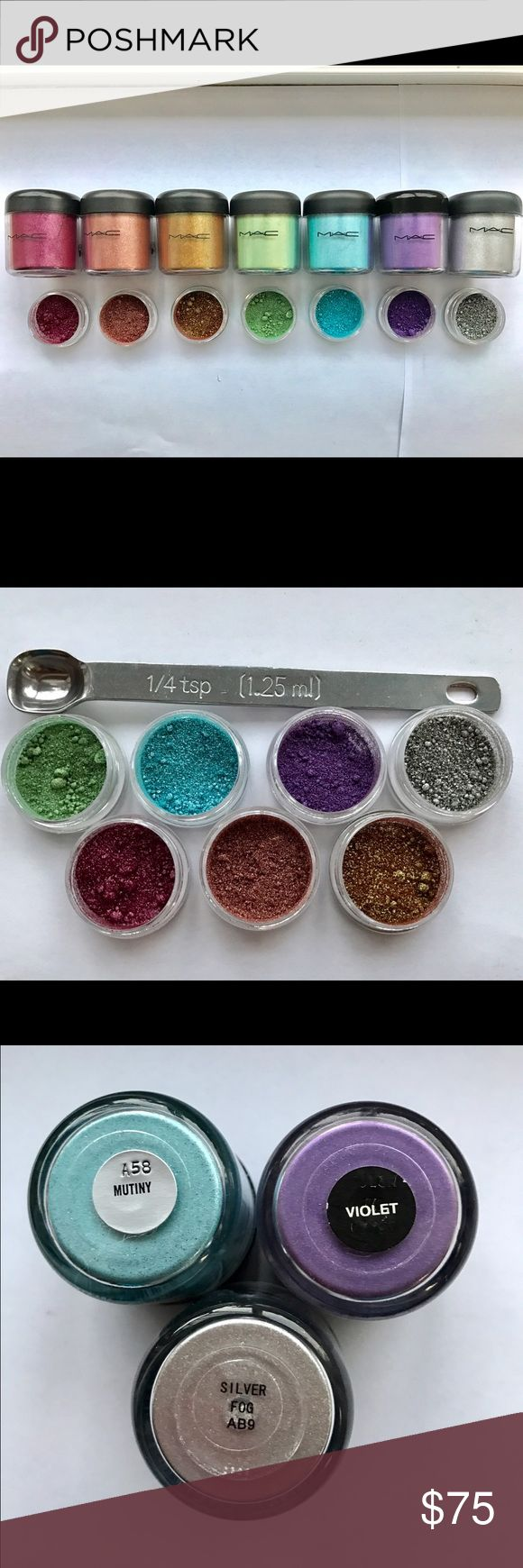 Rare MAC Rainbow bright sample set Authentic This is a Part Glam set including 1/4 teaspoon of each of the following pigments: Ruby Red, Tan, Old Gd, Golden Green, Mutiny, Violet, and Silver Fog! These are gorgeous shades perfect for any occasion!Super RARE 100% Authentic!  The pigments are packaged in BPA Free 3g jars! Get them while they last! SHIPS THE NEXT DAY! MAC Cosmetics Makeup Eyeshadow