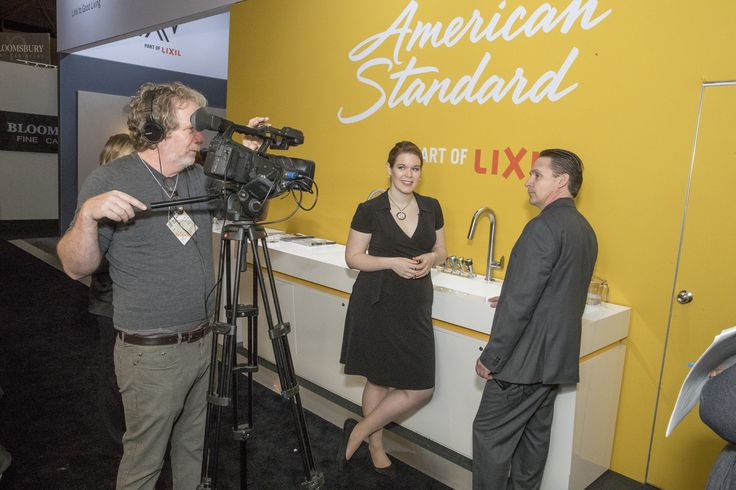 IDS Toronto was a great media opportunity for American Standard. Seen here an interview taking place in front of a collection of American Standard kitchen faucets.