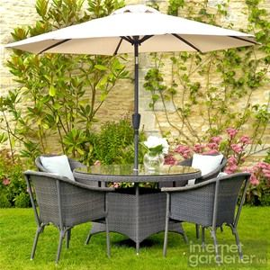Bramblecrest Rio 4 Seat Round Rattan Stacking Bistro Chair Set