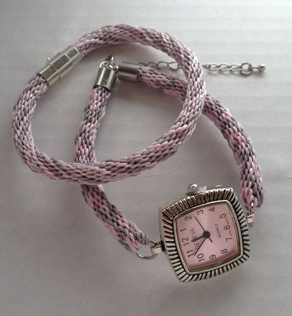 Kumihimo Braid Pink and Gray Watch with matching Bracelet on Etsy, $34.99