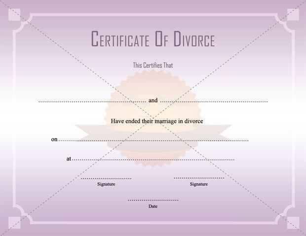 Divorce Decree Certificate Template Printable - MarriageCertificateTemplate.Com