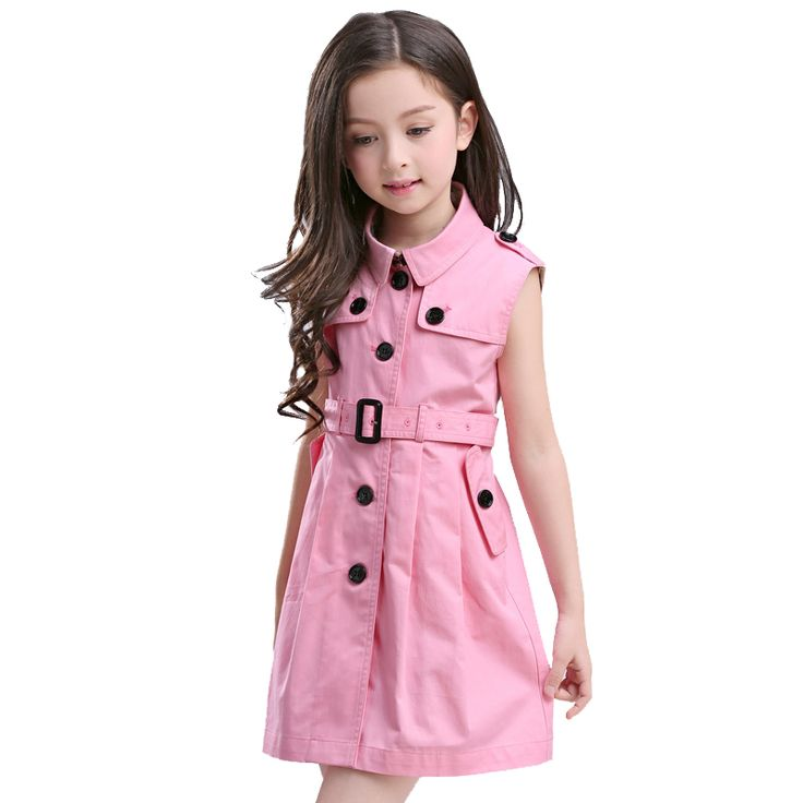 >> Click to Buy << BURBULLY Summer Girls Dress Big Child Cotton Pink Vest A Line Button Decoration with Belt Clothing High Quality England Style #Affiliate