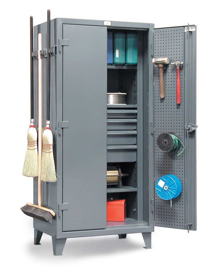 janitorial tool u0026 supply storage cabinet combination shelf drawers pegboard doors and broom hangers locking device can be locked with a standard - Locking Storage Cabinet