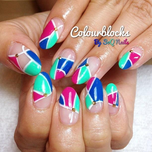 Copycat Claws Blue Color Block Nail Art: Negative Space Images On Pinterest
