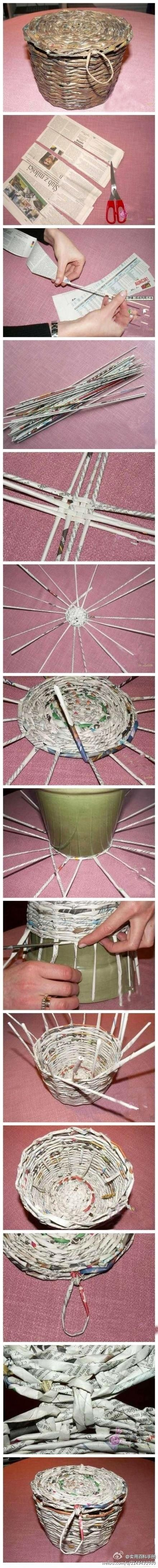 DIY Newspaper Basket...I wonder if this would work for old shirts?