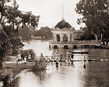 Echo Park Lake circa 1910 ... spent lots of time here as a kid. Rode on the boats, fed the ducks, had picnics with my parents.