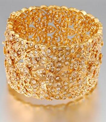 Gold filigree and diamond bridal bangle.