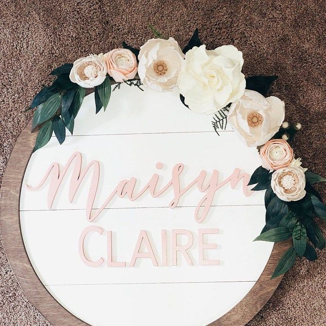 20 Round Baby Name Sign Etsy Baby Signs Cute Baby Names Baby