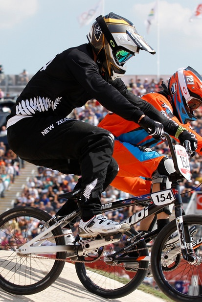 New Zealand's Kurt Pickard, No 154, during his Olympic Games cycling BMX quarterfinals at the Olympic Park BMX track. Photo / Mark Mitchell