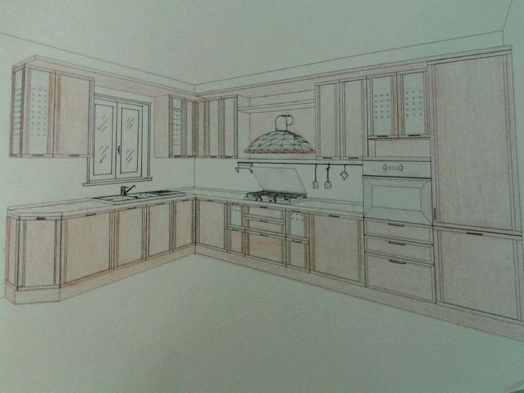 Progetto Cucina. Composizione angolare con finestra integrata.