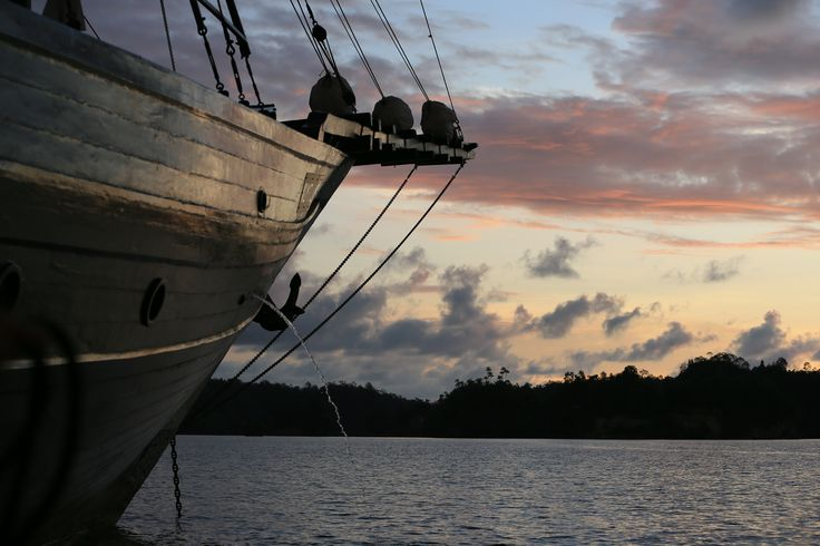 Alila Purnama facing the beautiful golden sky in Raja Ampat Island