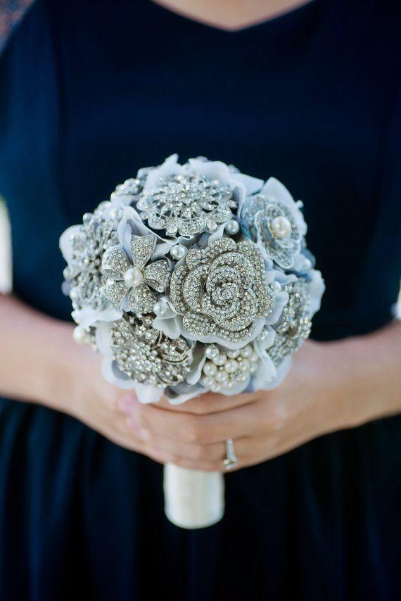 Custom Silver Brooch Bouquet, Grey Silk Flower Bouquet, Grey Fabric Flower Bouquet, hydrangea brooch bouquet, Bridesmaid Bouquet - 6 inch  $102.11