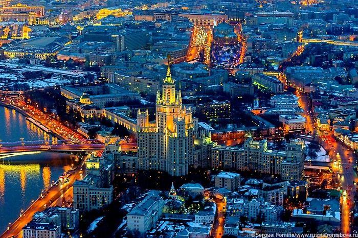 москва аэро фото Сталинская высотка на Котельнической набережной