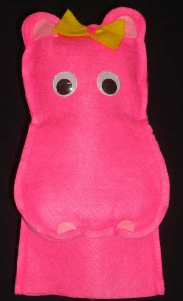 Pink Hippo Moving Mouth Hand Puppet