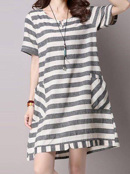 fba679b0732 Buy Midi Dress For Women from A-THENA at Stylewe. Online Shopping Stylewe  Gray Crew Neck Daily Dress Short Sleeve Casual Cotton Printed Stripes Dress