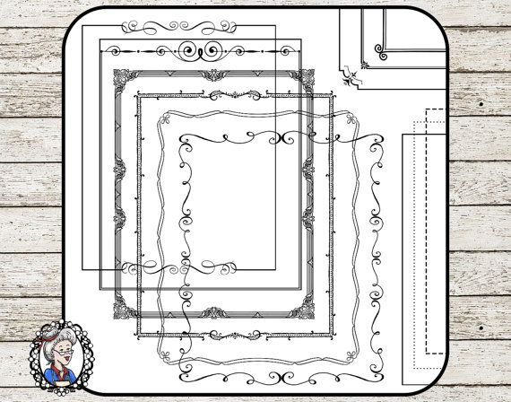 Clipart  Frames and Page Borders 1  8 x 10 inches  Instant