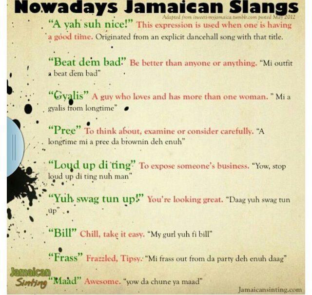 Resultado de imagen de jamaican slang
