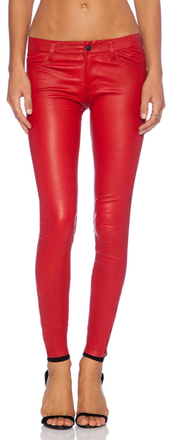 Premuim Red Leather Skinny Pants Jeans 5 Pockets Leggings Lambskin. Found for just $129.