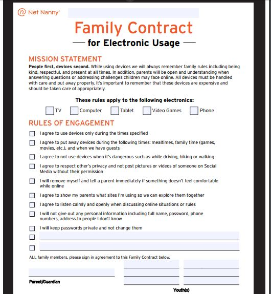 Tired of fighting about screen time? Concerned about what your kids are doing online? Get on the same page with this FREE digital contract!  https://www.netnanny.com/blog/family-contract-for-electronic-devices/?utm_source=pin&utm_campaign=201611_digitalcontract&utm_medium=ad&pid=25-1
