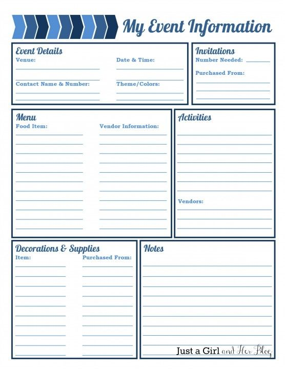 My Event Information printable by Just a Girl and Her Blog - organized list for planning your party/event.
